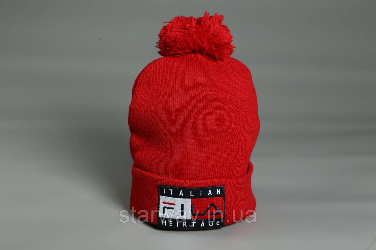 Тёплая шапка Fila с бубоном | логотип вышит