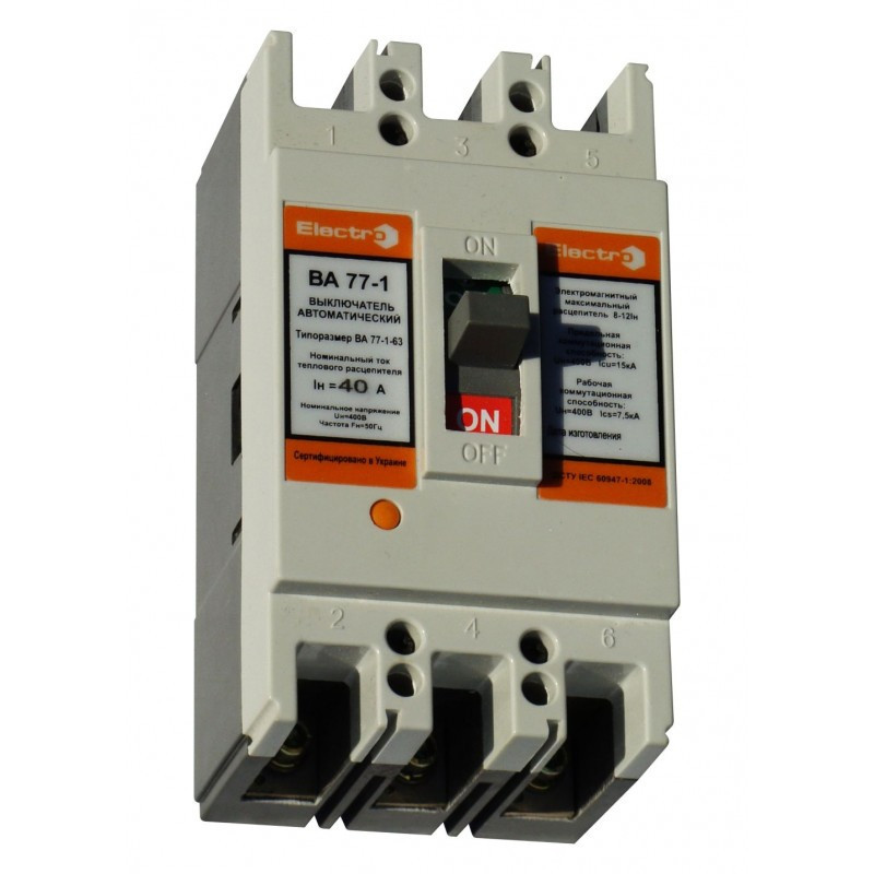 Выключатель автоматический ВА 77-1-63 3П 16А 8-12in icu 15кА 380В