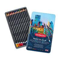 Набор цветных карандашей Procolour, 12 цветов метал. Derwent