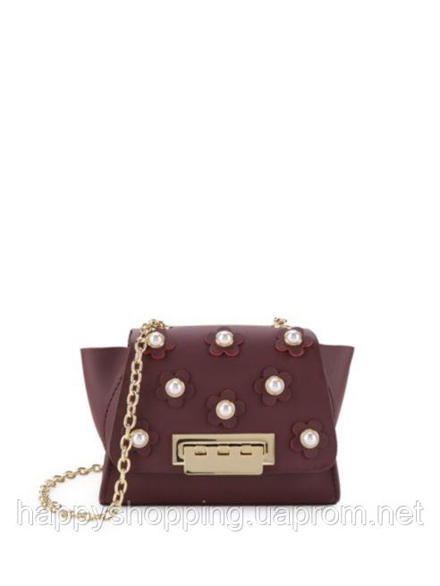 Женская оригинальная бордовая мини сумочка crossbody из натуральной кожи ZAC Zac Posen