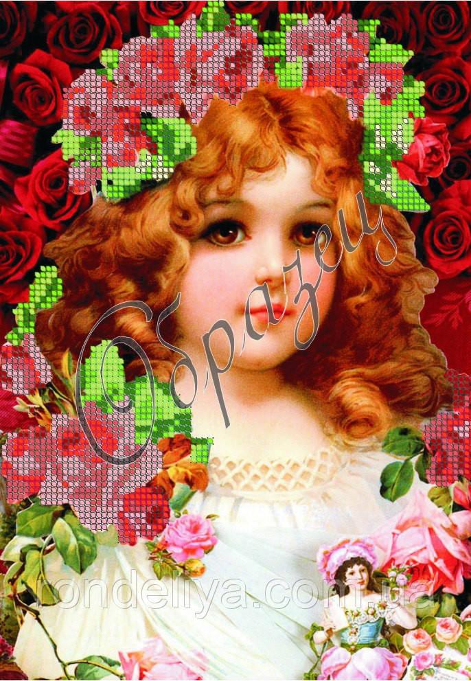 Схема для вышивки бисером «Девочка в розах»