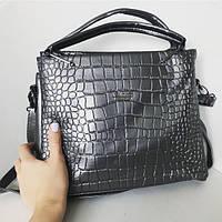 Женская сумочка Guess (Гесс) Crokodile, серый цвет