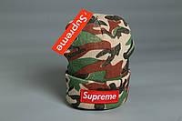 Шапка камуфляжная Supreme логотип вышит | Бирка