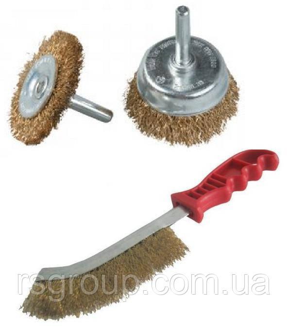 Набор из 3-х щеток для дрели и ручной обработки