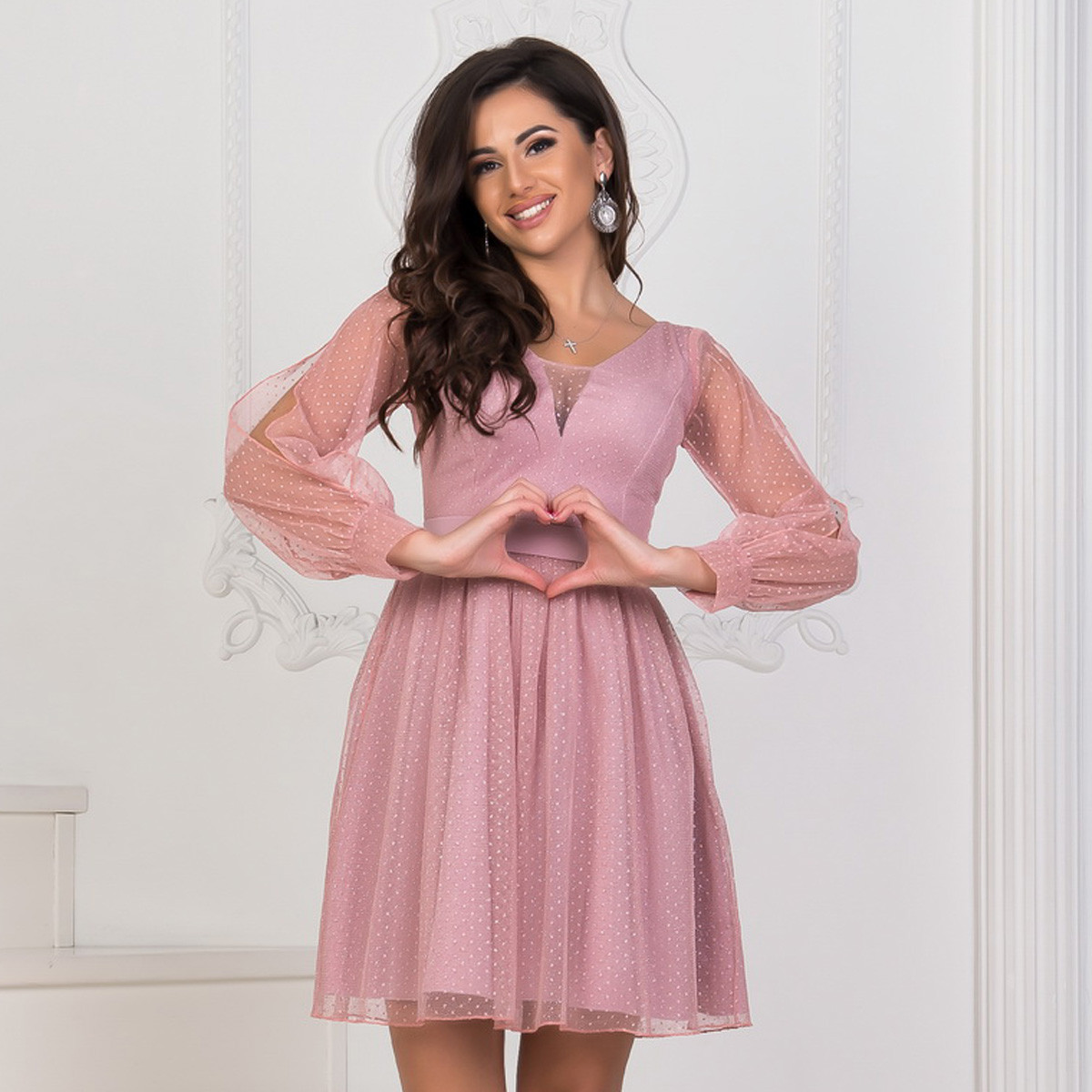 """Випускний, вечірній рожеве блискуче плаття """"Салюте"""""""