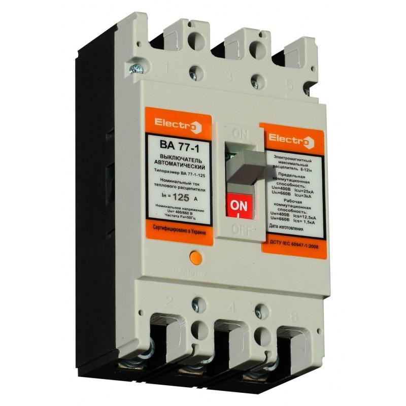 Выключатель автоматический ВА77-1-125  3 П  10А   8-12In   Icu 25кА   380В