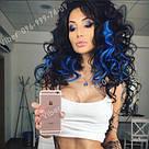 Трессы на 1 клипсе, цветные прядки синие, фото 8