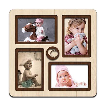 "Фоторамка коллаж  ""Heart"" 33х33см., рамка для фото малыша, декор и подарок, фото 2"