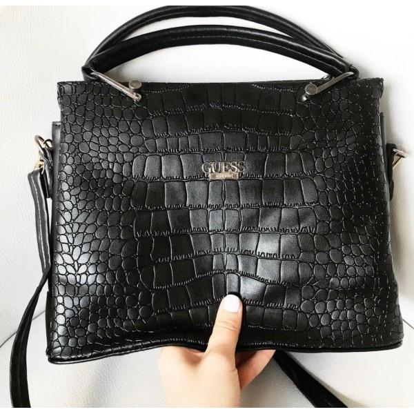 87cc2644 Женская сумочка Guess (Гесс) Crokodile, черный цвет, цена 935 грн ...