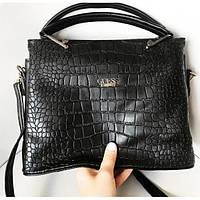 Женская сумочка Guess (Гесс) Crokodile, черный цвет