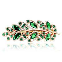 "Заколка ""Tiffany and Co green"" позолоченная с кристаллами swarovski"