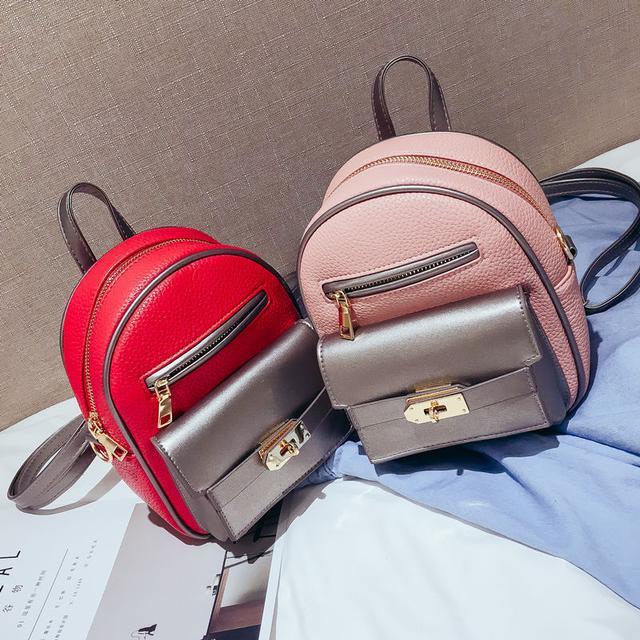 маленький рюкзак розовый и красный