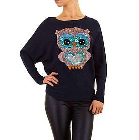 Женский джемпер летучая мышь с совой бренда Enzoria (Италия), Темно-синий