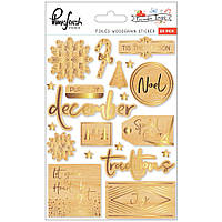 Наклейки дерев'яні - Woodgrain - December Days - Pinkfresh Studio