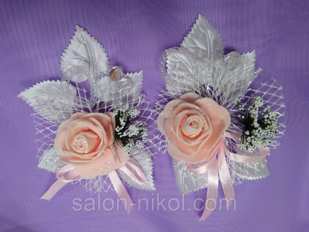 Бутоньерка средняя роза бархат розовая