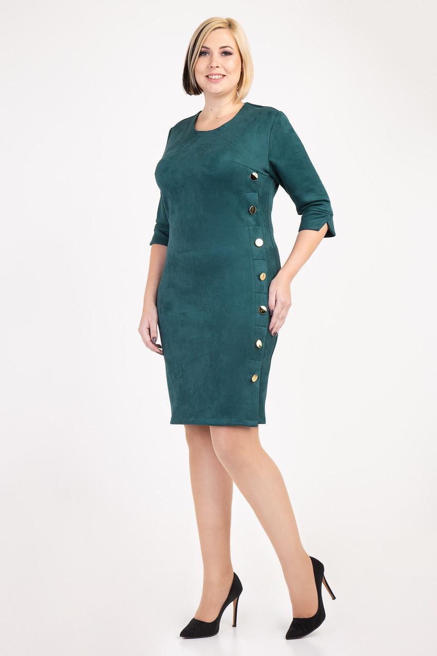 Оригинальное замшевое женское платье бутылочного цвета