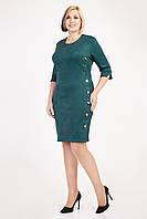 Оригінальне замшеве жіноче плаття пляшкового кольору, фото 1