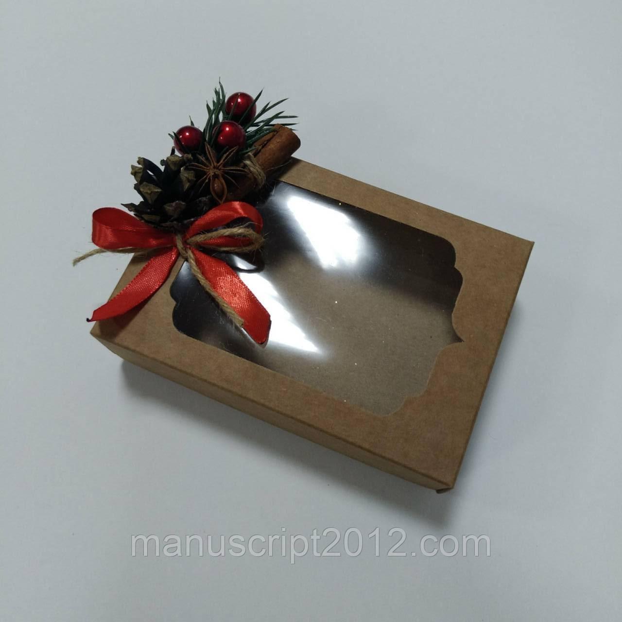Коробка для подарков с новогодним декором 130х90х35 мм