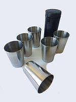 Набор стаканов из нержавеющей стали с футляром 6шт. 150мл