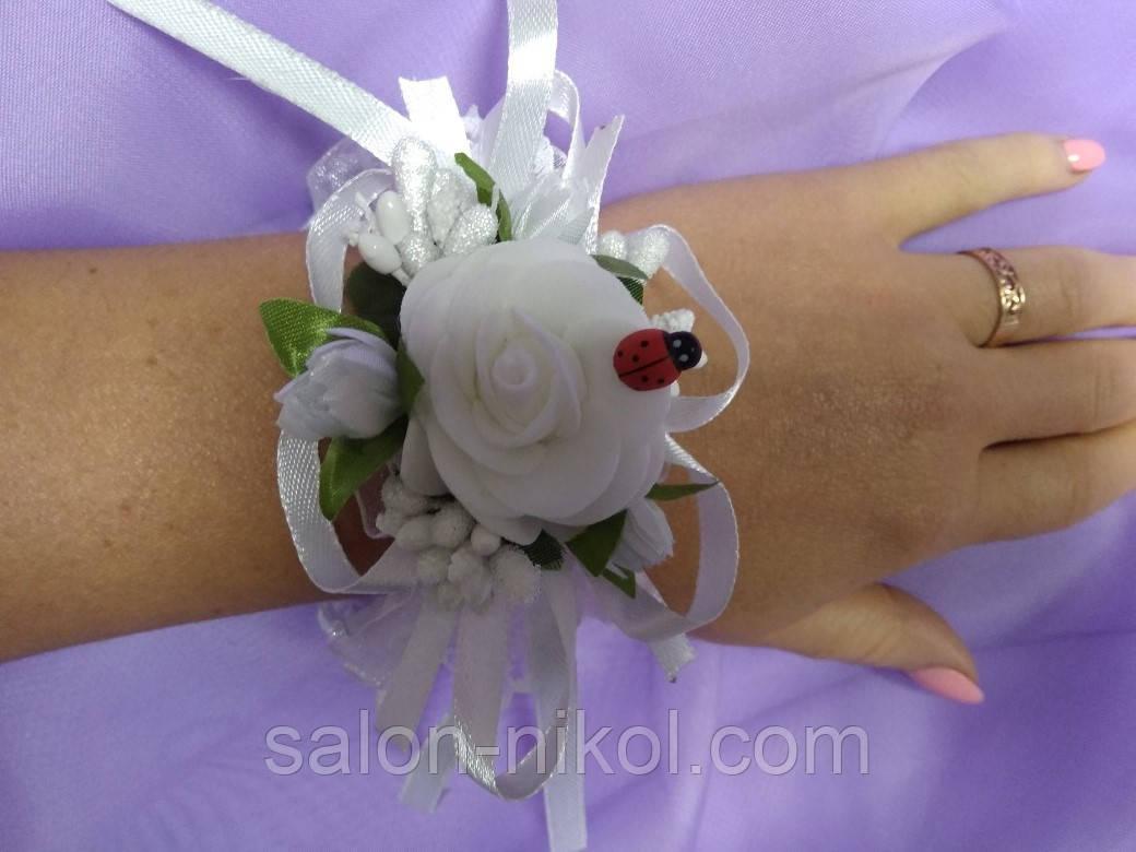 Браслет из цветов на руку свидетельнице (маленькая роза бархат белая).