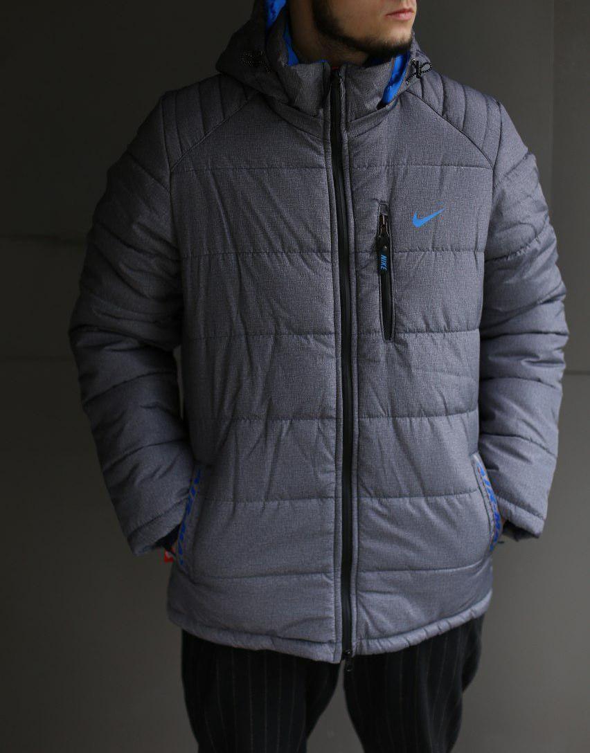Мужская зимняя куртка Nike Air max серая меланж (холлофайбер)