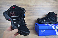 Мужские зимние кроссовки в стиле Adidas AX 2 черные полностью, нубук/мех. Код товара:  ОД - 3273