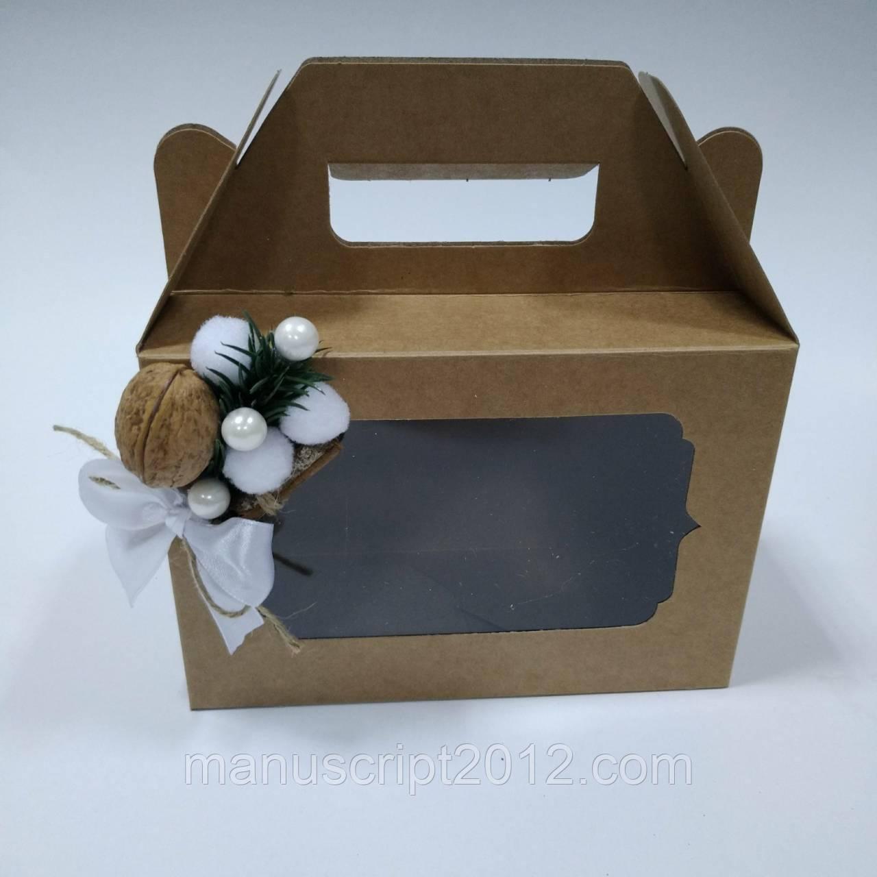 Коробка для подарков с новогодним декором 190х130х90 мм, фото 1