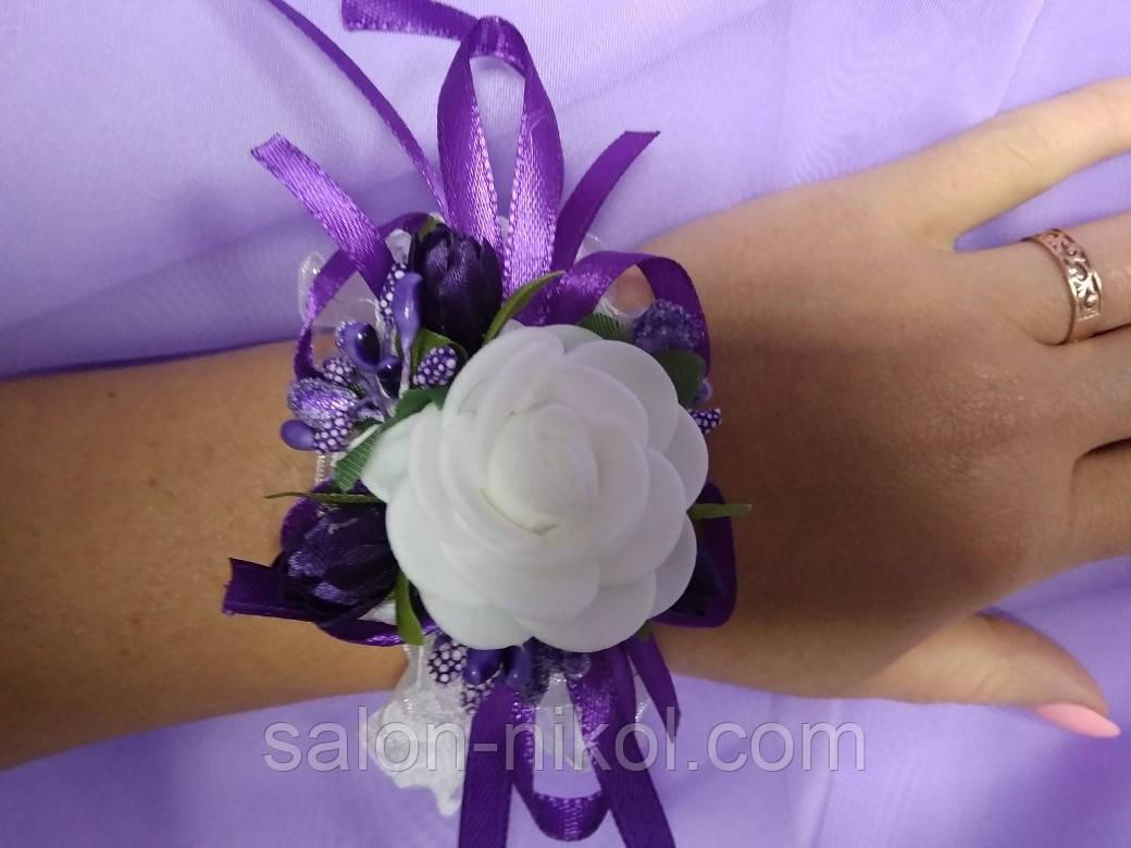 Браслет из роз на руку свидетельнице (маленькая роза бархат фиолетовая).