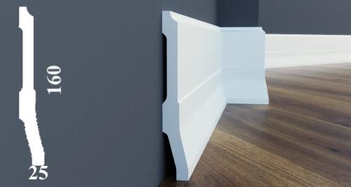 Широкий пластиковый плинтус из дюрополимера белого цвета высотой 160 мм LPC-35 Cezar 2,44 м