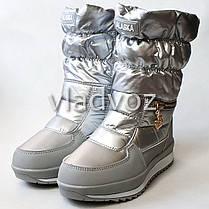 Детские подростковые дутики зимние сапоги на зиму для девочки серебристые Alaska 33р., фото 2