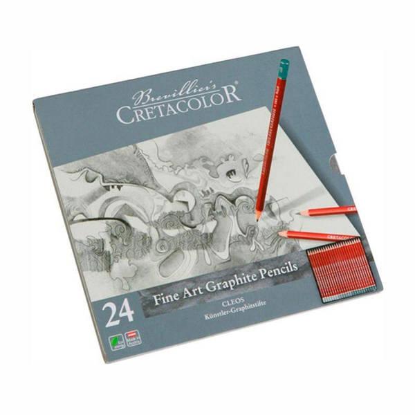 Набор графитных карандашей Cleos 24шт., мет. упаковка, Cretacolor
