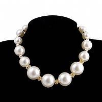 "Колье ""Chanel pearl"" позолоченное с жемчугом"