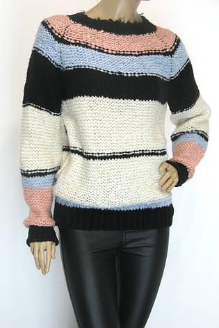 Жіночий вязаний светр джемпер грубої вязки, фото 2