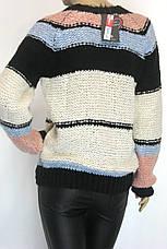 Жіночий вязаний светр джемпер грубої вязки, фото 3