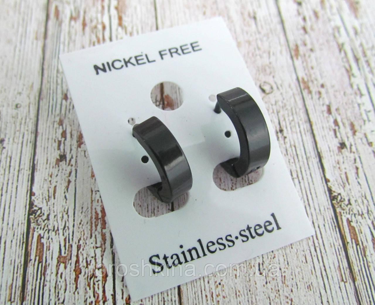 Серьги кольца черные малые d 10 мм