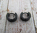 Серьги кольца черные малые d 10 мм, фото 2