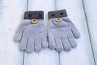 Детские вязаные перчатки D115-7 светло-серые