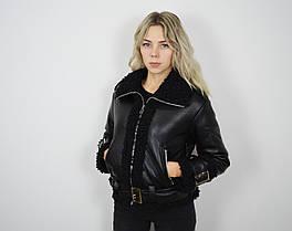 Куртка-дубленка черная 803