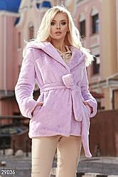 Стильний теплий жіночий кожушок з м'якого еко-хутра бузковий розмір 44 46 48