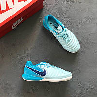 8c0d25b58df8 Футзалки Nike Tiempo LegendX VII Academy IC - White Metallic Cool Grey Blue  Hero