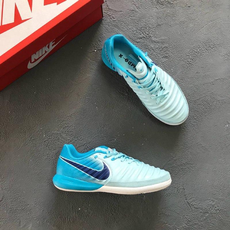 221fc25ad Футзалки Nike Tiempo LegendX VII Academy IC - White Metallic Cool Grey Blue  Hero