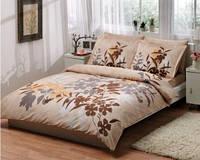 Комплект постельного белья ТАС Ledra kahve delux сатин де люкс 220-200 см
