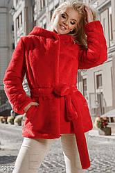 Стильний теплий жіночий кожушок з м'якого еко-хутра яскраво-червоний розмір 44 46 48