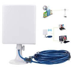 Mощный сетевой беспроводной Wi-Fi адаптер ZE-CU218N (14dbi (настоящих) антенна) 5м USB