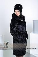 Стильная женская шубка под норку с рельефной стрижкой елочка