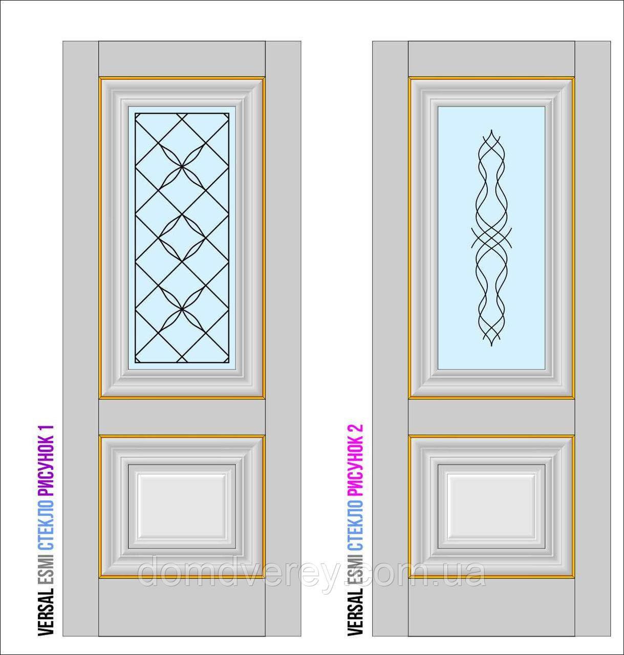 Двери межкомнатные, Родос, Versal, Esmi, со стеклом и рисунком, small molding