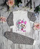 Утеплённая пижама  для девочки, футер. Кукла Лол. размер 28