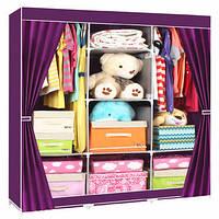 Портативный Тканевый Шкаф Органайзер Storage Wardrobe YQF130-14A 3 Секции коричневый