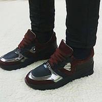 Модные женские кроссовки РР демисезонные кожа+текстиль Uk0548
