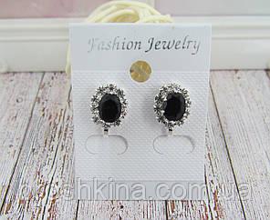 Клипсы овальные с черными кристаллами 1,3 * 1 см